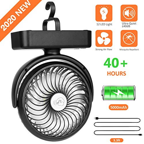 5000mAh Battery Camping Fan with LED Lights-40 Working Hours Max Tent Fan Light with Hanging Hook-Rechargeable Battery Operated USB Desk Fan for Tent...