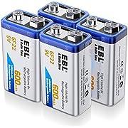EBL 9v Akku 600 mAh Typ Li-Ionen 6F22 wiederaufladbare Lithium-ionen Batterie, geringe Selbstentladung für Rauchmelder 4 Stück