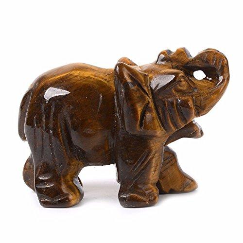 Justinstones Carved Natural Golden Tiger'S Eye Gemstone Elephant Healing Guardian Statue Figurine Crafts 2 Inch