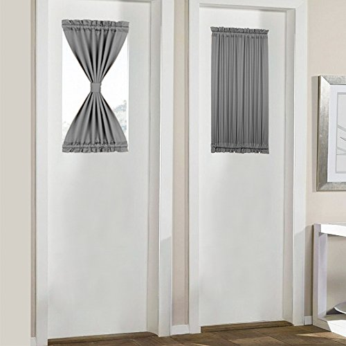 PANOVOUS Small Door Window Curtains Thermal Insulted French Door Curtains Blackout Set of 2 Grey 25x40 Inch