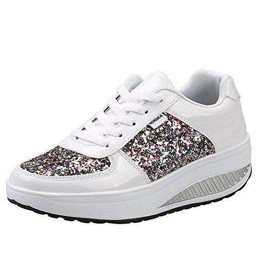 Mujer Zapatillas de Deporte Cuña Zapatos para Caminar Aptitud Plataforma Sneakers con Cordones Calzado de Tacón 4cm Blanco EU 37
