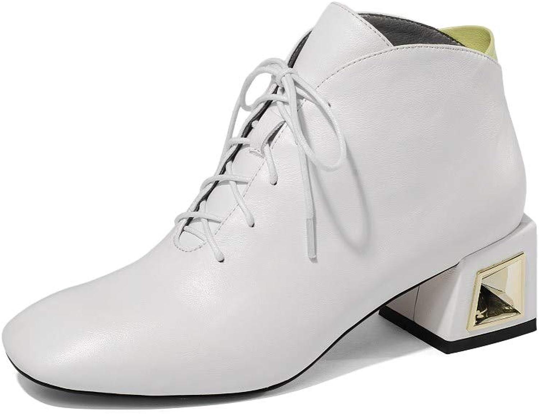 Nio Sju äkta äkta äkta läderskor för kvinnor på torget, Chunky Low Heel Lace Up Handgjorda Comfort gående Ankle stövlar  billig