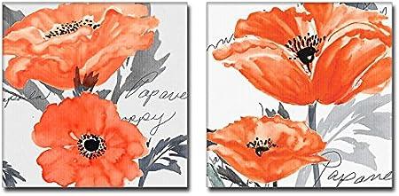 2 Piezas Naranja Y Gris Decoración De La Pared Flor De Amapola Arte Lienzo Lienzo Estirado Everything Else