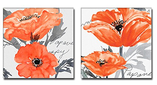 2 Pieces Orange and Gray Wall Decor Poppy Flower Canvas Art (Stretched Canvas)