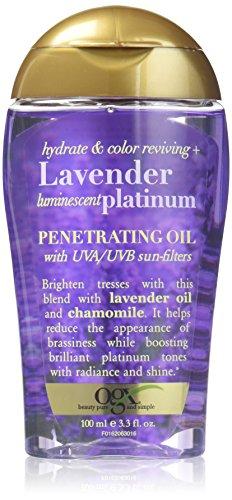 OGX Hydrate & Color Reviving + Luminescent Platinum Penetrating Oil, Lavender 3.3 Fl Oz
