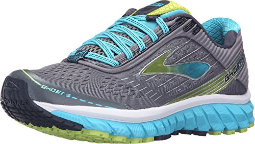 Brooks Women's Ghost 9 Silver/Blue Atoll/Lime Punch Running shoes - 12 B(M) US