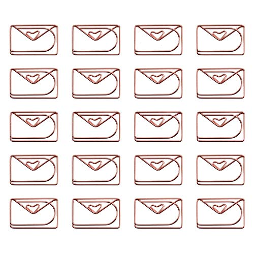 JETEHO 20Pcs Cute Envelope Shaped Paper Clips Metal Note Clips for Bookmark Office School Notebook Agenda Pad