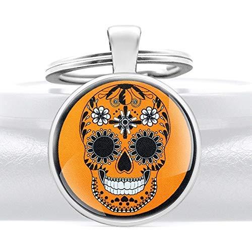 YXDEW Color Oro clásico cráneo Flor Vidrio cabujón Metal Colgante Llavero Encanto Hombres Mujeres Llavero Anillo joyería Regalos llaveros llaveros Accesorios