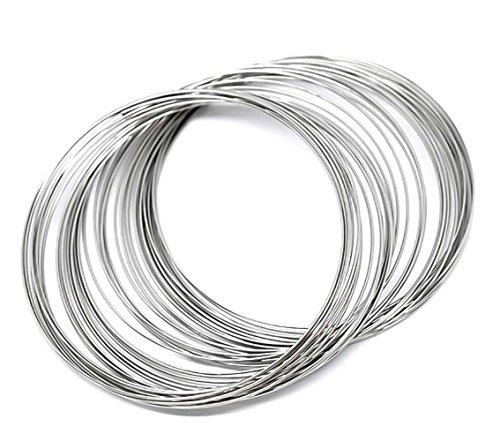 200 Runden Memory Draht für Armbänder 55-60mm x 0,6mm silbern Schmuckdraht