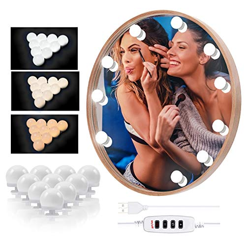 LED Spiegelleuchte - Hollywood Stil Spiegellampen für das Bad, USB Spiegel Licht mit 10 Dimmbarer Helligkeit und 3 Einstellbarem Farbmodus, Schminktisch/Badzimmer Spiegel