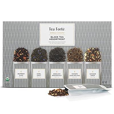 Tea Forte Single Steeps Loose Leaf Tea Sampler, Assorted Variety Tea Box, 15 Single Serve Pouches