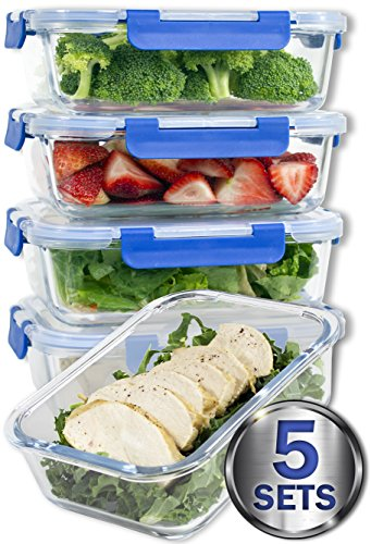 36 Oz Glass Meal Prep Containers with Snap Locking Lids, set of 5 pieces