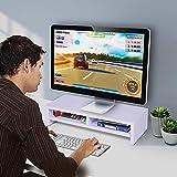GOTOTOP - Soporte de monitor con 2 niveles de madera para elevar monitor, ordenador o escritorio, casa, elevar, pantalla LCD, Mac, ordenador portátil, 50 x 20 x 11,7 cm, carga 30 kg, color blanco
