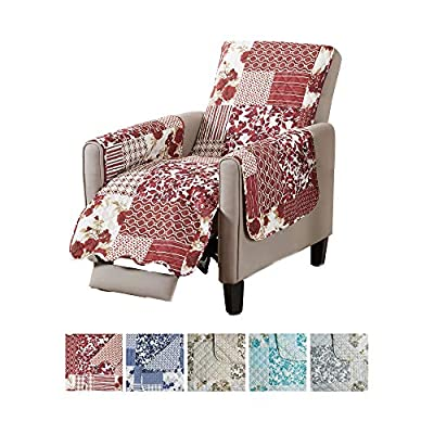 Great Bay Home Patchwork Scalloped Stain Resistant Printed Furniture Protector Brand.