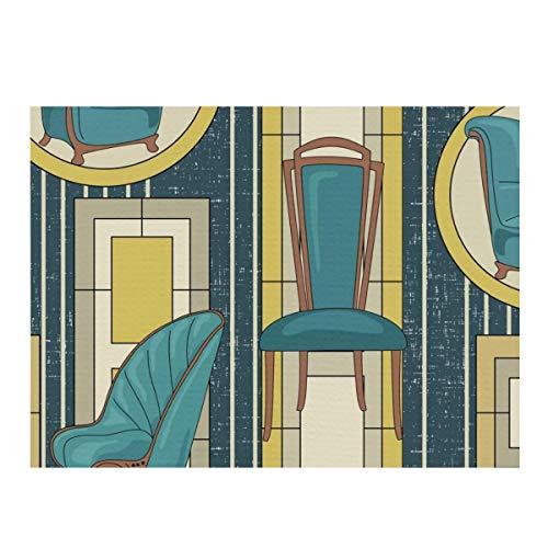 Mikrofaser-Abtropfmatte für Geschirr, Art-Deco-Panels und Stühle, blaugrün, schnelltrocknend, Abtropfmatte für Küche, hitzebeständig, rutschfest und spülmaschinenfest.