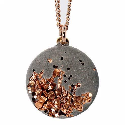 Concrete Jungle® Halskette Grey Rosé | Echtschmuck | Anhänger Rund aus High-Tech-Beton mit Kupfer | 925 Silber (nickelfrei) – 18kt Rosegold