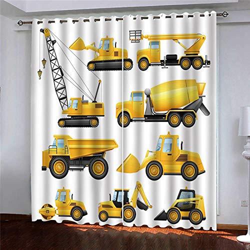 YNKNIT Blickdichter Vorhang mit Ösen Bagger 2er Set Gardinen Vorhänge Blickdicht,verdunkelungsvorhang,thermovorhang für Wohnzimmer, Schlafzimmer und Räume 75x166cm