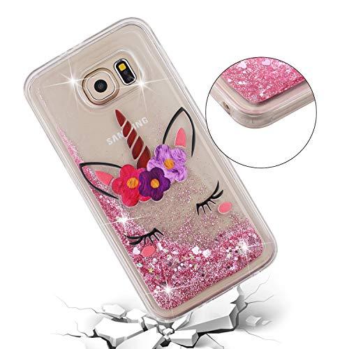 ChoosEU Silicona Glitter para Funda Samsung Galaxy S6 Transparente Dibujos Brillante Unicornio Bonita Carcasas Liquido Purpurina TPU Case Antigolpes Bumper Cover Protección Caso - Unicornio