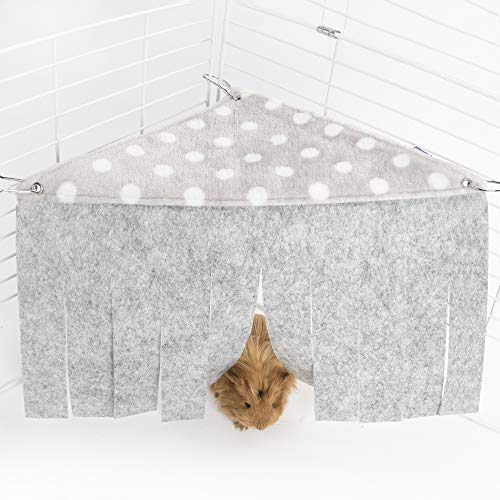 Niteangel Fleece Forest Corner Curtain Hideout Fun Hiding Spot for Ferrets Chinchillas Hedgehogs Dwarf Rabbits Guinea Pigs Syrian Hamster Rats (Gray)