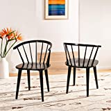 Safavieh Home Collection Blanchard Black Curved Spindle Side Chair (Set of 2)