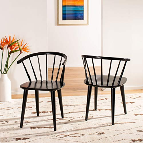 Safavieh American Homes Collection Blanchard Country Farmhouse Black Spindle Side Chair (Set of 2)
