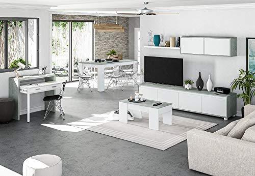 Salone Negozio Online Kit Mobile Parete ATTREZZATA Alida 41X200X43H Bianco/Cemento
