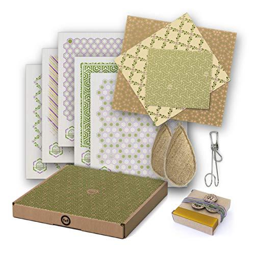 Bio-Geschenkbox: WIEDERVERWENDBAR, WASCHBAR, KOMPOSTIERBAR. 5 Zellulosefaser-Tücher, 3 Bienenwachstücher für Lebensmittel, 2 Luffa-Schwämme, 1 rostfreier Haken & Zubehör
