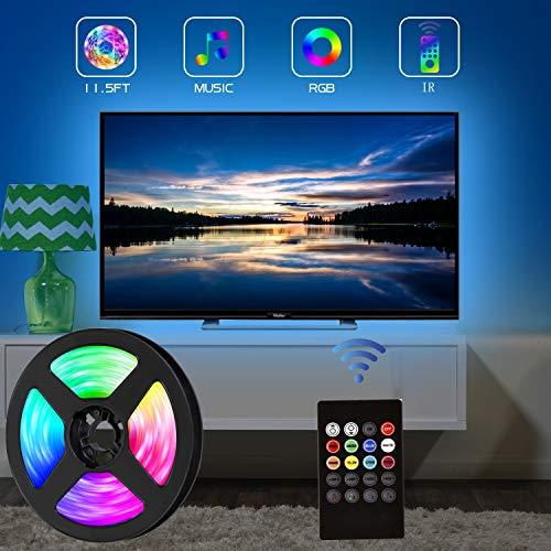 strisce led tv, retroilluminazione TV USB da 3,5 m per TV da 40-65 pollici, 8 colori e 4 modalità dinamica con modalità di illuminazione musicale, fai-da-te, cucina, camera da letto, festa, casa.