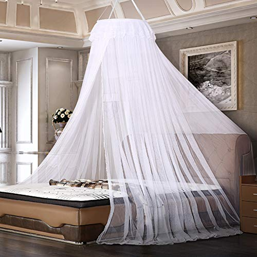 LYTIVAGEN Moskitonetz Bett Mückennetz Hängend Fliegennetz Groß Faltbar Moskitoschutz Insektenschutz 60 x 250 x 1200cm Atmungsaktiv Moskitozelt für Einzelbett, Doppelbett, Kinderbett, Weiß