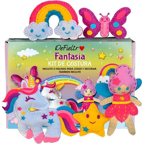 DeFieltro Fantasía – Kit de Costura Niñas – Kit de Manualidades para Adultos y Niños – Set Costura para Aprender a Coser