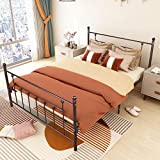 Elegant Home Products Foundation Metal Bed Frame Platform Headboard Footboard Heavy Duty Steel Slabs No Box Spring Needed Queen Size (Brown, Queen)