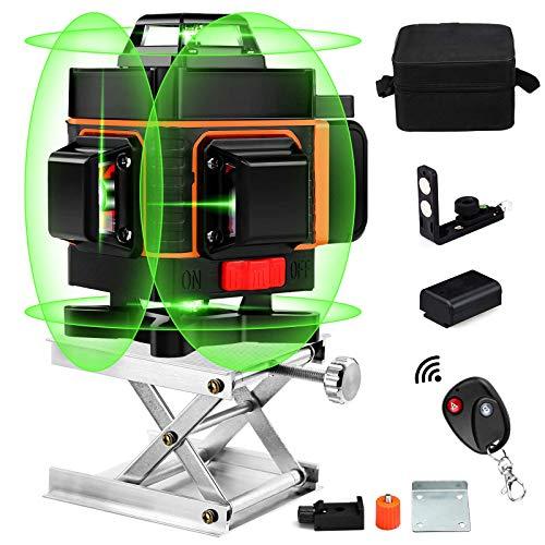 4D Laser Level , 360 Laser Level 16 Linien 4D Grün Strahl Selbstnivellierung Mit Fernbedienung, Umschaltbar Vertikal / Horizontal Linien, 4000mAh Wiederaufladbare Batterie