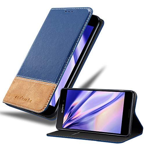 Cadorabo Hülle für Sony Xperia M4 Aqua - Hülle in DUNKEL BLAU BRAUN – Handyhülle mit Standfunktion und Kartenfach aus Einer Kunstlederkombi - Case Cover Schutzhülle Etui Tasche Book
