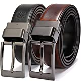 Beltox Fine Men's Dress Belt Leather Reversible 1.25' Wide Rotated Buckle Gift Box(Black Buckle with Cognac/Black Belt,50-52)