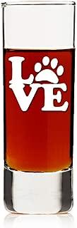 Love Dog Paw Print Tall Shot Glass 4 Pc Set - Engraved Shot Glass Gift