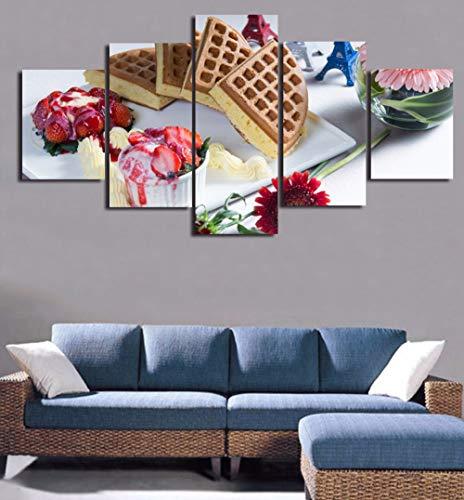 WJDJT 5 platen voor desserts, aardbeien en crêpes, muurschilderingen, kunstdruk, op canvas, afbeeldingen voor kunstwerken op kantoor thuis, moderne decoratie, 150 x 80 cm 150x80cm