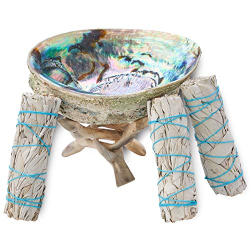 JL Local White Sage Smudge & Cleansing Kit Gift Box - Abalone Shell, Instructions & More - Smudging, Healing & Stress Relief (Standard with Stand)