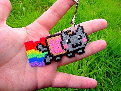 keychain of Nyan cat • Pixel/art • Hama Beads