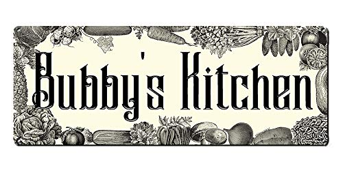 Bubby's Kitchen, 6 x 16 Inch Metal Sign, Jewish and Hebrew Art Wall Decor for Hanukkah, Chanukah, Rosh Hashanah, Passover Decorations and Gifts for Jew, Bubbie, Bubbe, Bubala, Safta, RK3103 6x16