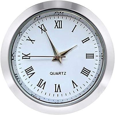 HILLHOME Mini Clock Insert 1 7/16 inch (37 mm) Round Quartz Movement Miniature Clock White Face Silver Tone Bezel Roman Numerals Fit 35 mm Diameter Hole