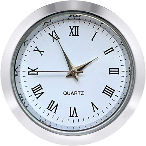 Mini Clock Insert 1 7/16 inch (37 mm) Round Quartz Movement Miniature Clock White Face Silver Tone Bezel Roman Numerals Fit 35 mm Diameter Hole