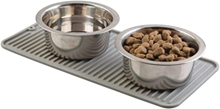 mDesign Feeding Mat - Silicone Pet Bowl Mat for Dogs, Cats and Other Animals - Animal Placemats - Grey