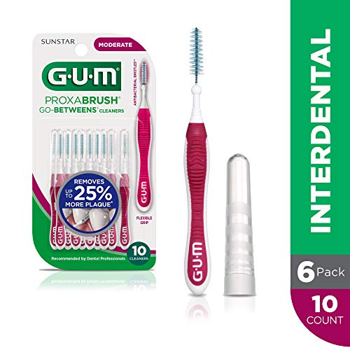 GUM Proxabrush Go-Betweens Interdental Brushes, Moderate, Plaque Removal, 10 Count, (Pack of 6)