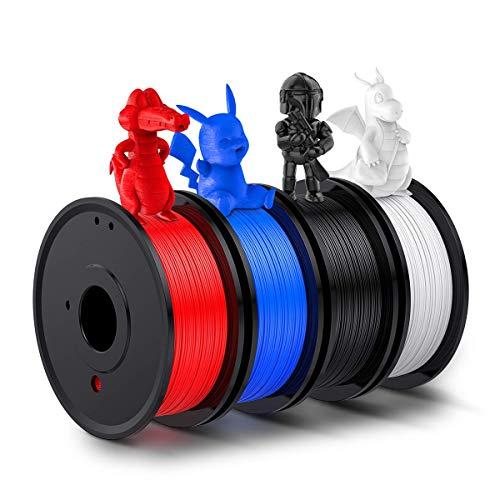 Impression 3D 4kg Filament (de 8.8lb), 1.75mm Filament PLA, Utilisé for L'imprimante 3D et Un Stylo 3D, y Compris Le Bleu, Rouge, Blanc et Noir