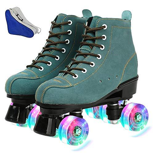 AYES Herren und Damen Rollschuhe Classic High Top Camouflage Roller Skates Double Row Roller Skates für Jungen und Mädchen, Unisex, Schwarz , 41