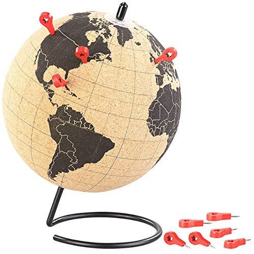 infactory Weltkugel: Drehbarer Kork-Globus mit 10 Pins zum Markieren, Ø 15 cm (Globus Deko)