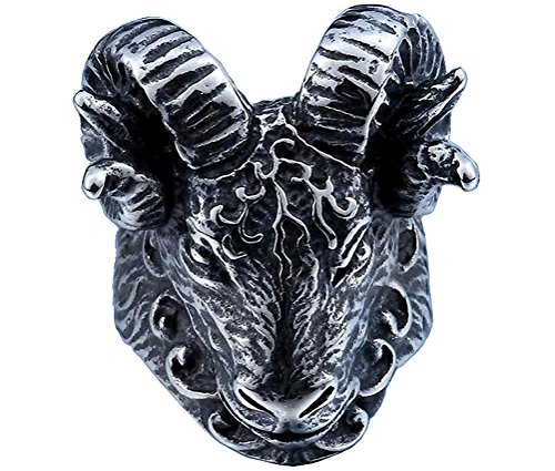 HIJONES Hombre Acero Inoxidable Vintage Plata Tono Negro Cuerno Cabra Gótico Motorista Anillo Cabeza Animal Tamaño 17