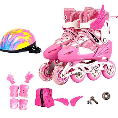 GUOCU Inline Skates Kinder/Erwachsene verstellbar mädchen/Jungen Inline Skates Rollschuhe PU Verschleißfeste Roller Skates Herren/Damen,Rosa,S(27-32)