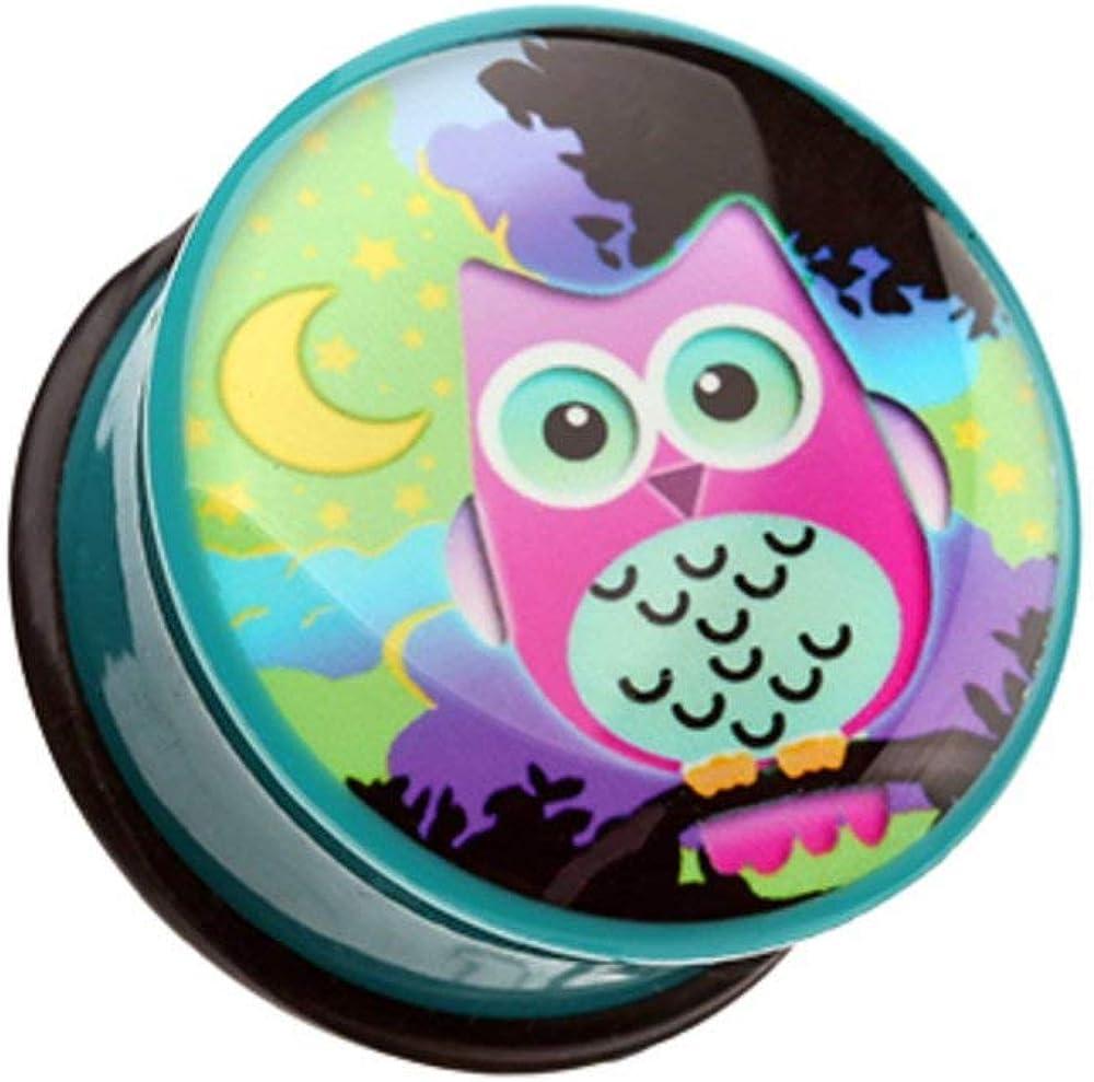 Covet Jewelry Midnight Owl Single Flared Ear Gauge Plug