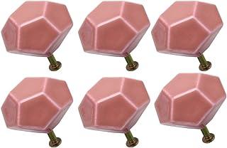 Juego de 6 pomos de cer/ámica para puertas de muebles armarios armarios armarios o tocadores armarios color rosa Sourcingmap